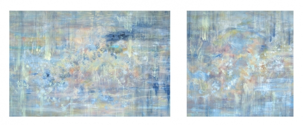 <strong>Out of the Blue</strong> – 40x60 and 40x40 – Acrylic with glass microspheres on canvas – SOLD