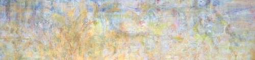 """<strong>Creekside</strong> – 28"""" x 118"""" – Acrylic with glass microspheres on canvas – SOLD"""