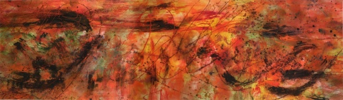 """<strong>I Just Want to Start a Flame In Your Heart</strong> – 30"""" x 102"""" – Acrylic with mineral granules on canvas – SOLD"""