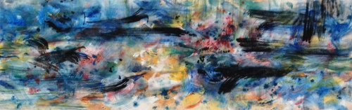 """<strong>Lovin' the Blues</strong> – 30"""" x 102"""" – Acrylic with mineral granules on canvas – $9,200"""