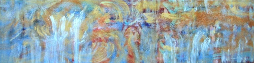 """<strong>Tidal Bliss</strong> – 30"""" x 102"""" – Acrylic with glass microspheres on canvas – SOLD"""