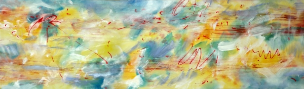 "<strong>Coast to Coast</strong> – 30"" x 102"" – Acrylic with glass microspheres on canvas – $9,200"