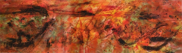 "<strong>I Just Want to Start a Flame In Your Heart</strong> – 30"" x 102"" – Acrylic with mineral granules on canvas – SOLD"