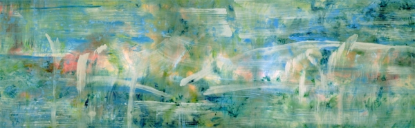 "<strong>Kindred Spirits II</strong> – 30"" x 102"" – Acrylic with glass microspheres on canvas – SOLD"