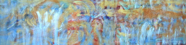 "<strong>Tidal Bliss</strong> – 30"" x 102"" – Acrylic with glass microspheres on canvas – SOLD"