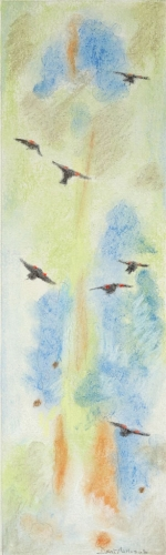 "<strong>Thirteen Ways of Looking at a Red-winged Blackbird 3</strong> – 3.5"" x 12"" – Pastel on archival paper – $275"