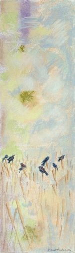 "<strong>Thirteen Ways of Looking at a Red-winged Blackbird 5A</strong> – 3.5"" x 12"" – Pastel on archival paper – $275"