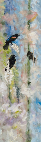 "<strong>Thirteen Ways of Looking at a Red-winged Blackbird 10</strong> – 102"" x 30"" – Acrylic on canvas – $9,200"