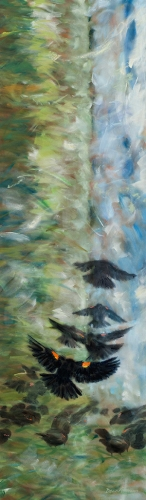 "<strong>Thirteen Ways of Looking at a Red-winged Blackbird 11</strong> – 102"" x 30"" – Acrylic on canvas – $9,200"