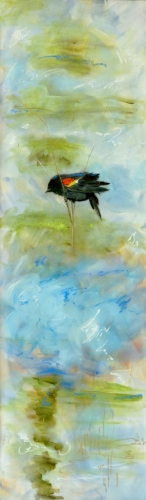 "<strong>Thirteen Ways of Looking at a Red-winged Blackbird 6</strong> – 102"" x 30"" – Acrylic on canvas – SOLD"