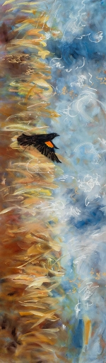"<strong>Thirteen Ways of Looking at a Red-winged Blackbird 12</strong> – 102"" x 30"" – Acrylic on canvas – $9,200"