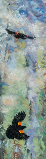"""<strong>Thirteen Ways of Looking at a Red-winged Blackbird 13</strong> – 102"""" x 30"""" – Acrylic on canvas – $9,200"""