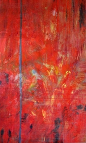 """<strong>Embraced</strong> – 58"""" x 36"""" – Acrylic with glass microspheres on canvas – $5,000"""