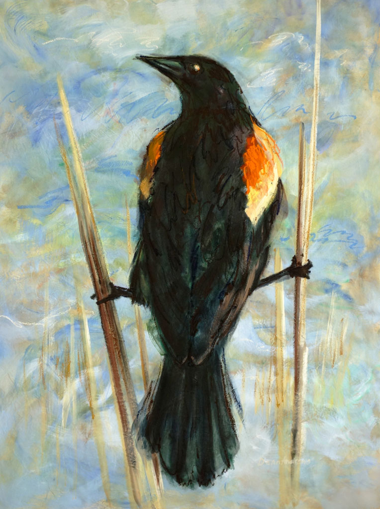 "Alt Text: (No Caption )Thirteen Ways of Looking at a Red-Winged Blackbird 1 – 86"" x 62"" – Acrylic with oil on canvas"