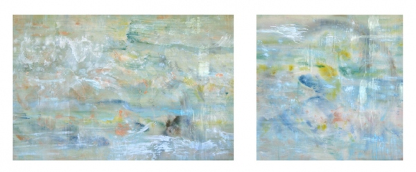 <strong>And Elsewhere</strong> – 40x60 and 40x40 – Acrylic with glass microspheres on canvas – $11,400