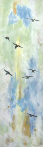 "<strong>Thirteen Ways of Looking at a Red-winged Blackbird 3</strong> – 102"" x 30"" – Acrylic on canvas – $9,200"