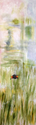 "<strong>Thirteen Ways of Looking at a Red-winged Blackbird 4</strong> – 102"" x 30"" – Acrylic on canvas – $9,200"