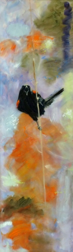 "<strong>Thirteen Ways of Looking at a Red-winged Blackbird 7</strong> – 102"" x 30"" – Acrylic on canvas – $9,200"