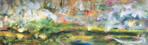 "<strong>Rustle of Spring</strong> - 96"" x 30"" - Acrylic on canvas - $9,200"